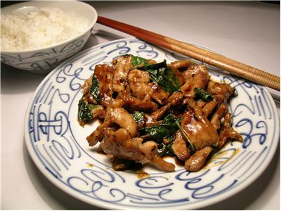 Picture Of Chinese Chicken Basil And Steamed Rice
